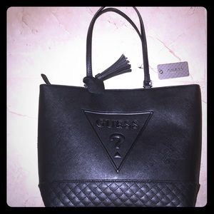 Guess Black Double Handle Handbag New